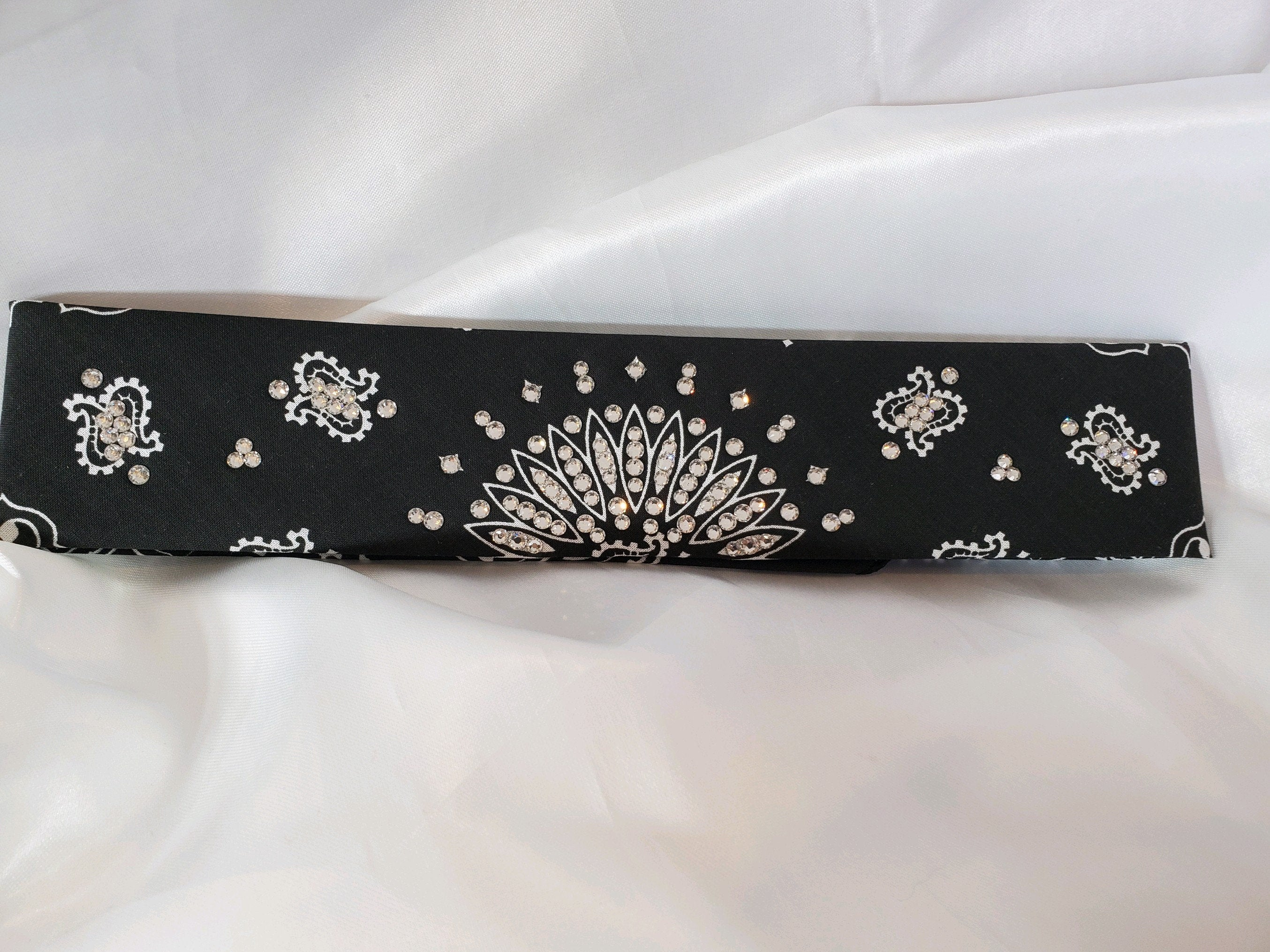 Narrow Black Bandana with Clear Diamond Swarovski Crystals (Sku2057)