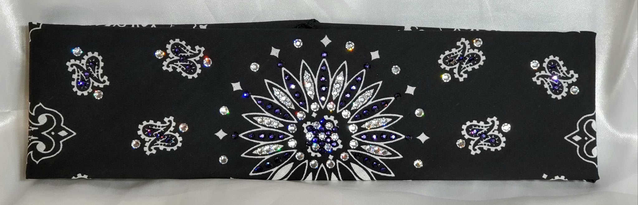 Black Paisley With Dark Purple and Diamond Clear Swarovski Crystals (Sku1940)