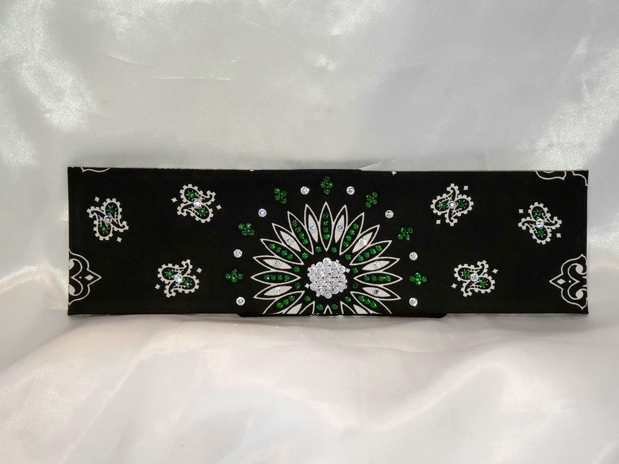 Black Paisley With Dark Green and Diamond Clear Swarovski Crystals (sku1941)