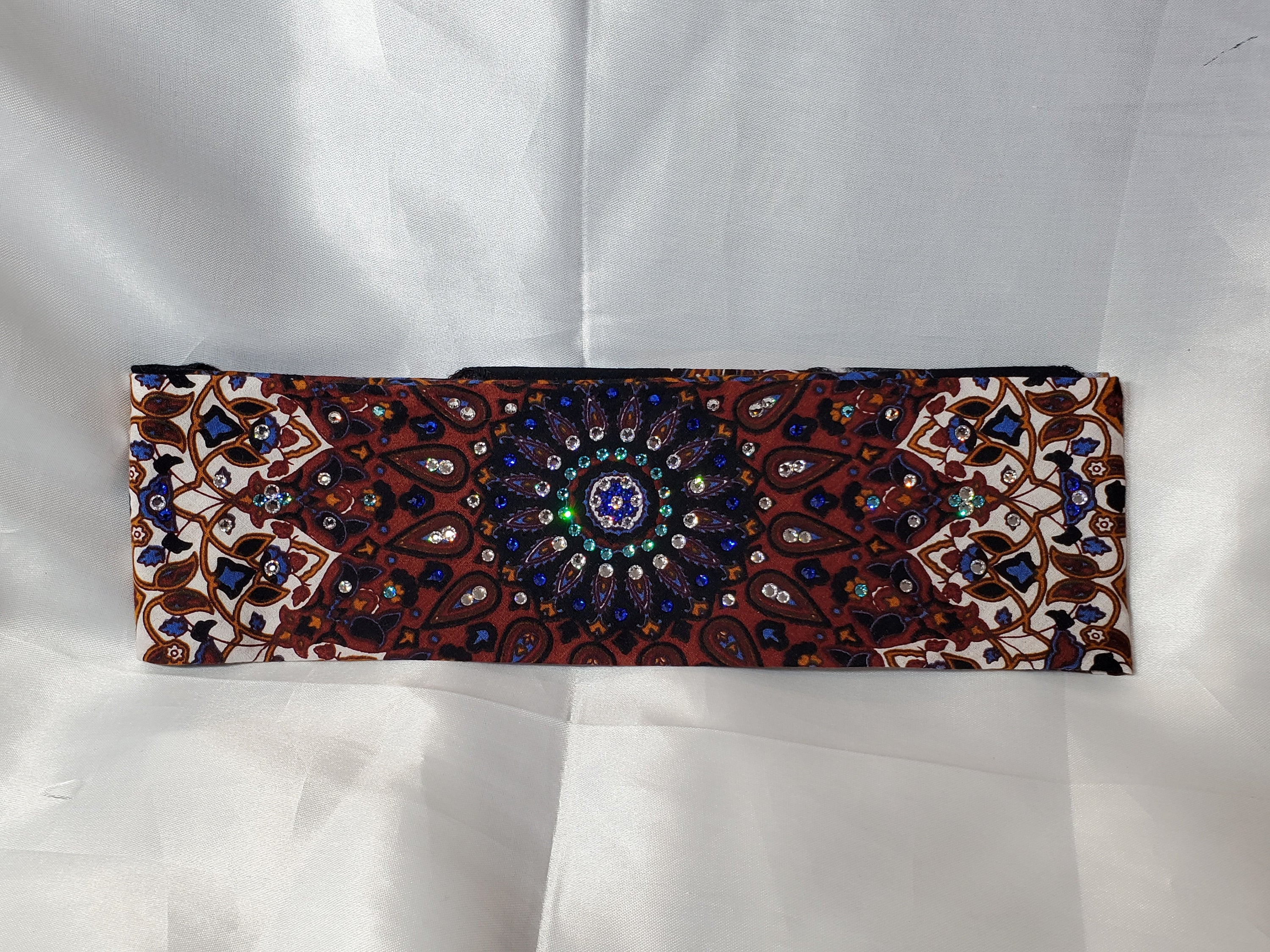 Rust Indian with Blue and Clear Center and Turquoise ring of Crystals (Sku1294)