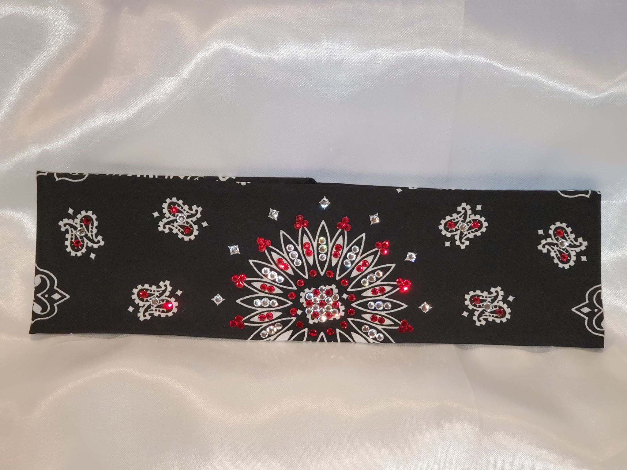 Black Paisley with Bright Red and Diamond Clear Swarovski Crystals (Sku1929)