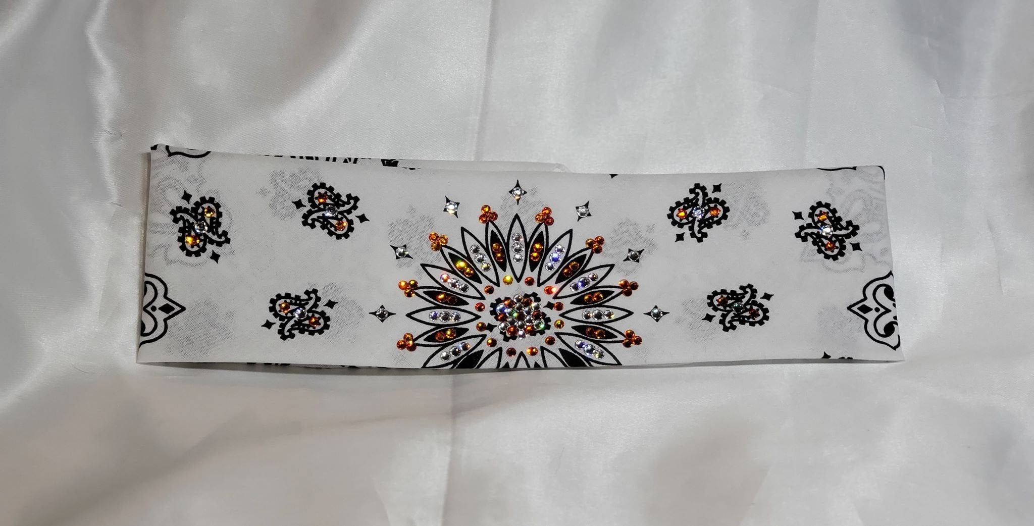 White Paisley with Orange and Diamond Clear Swarovski Crystals (Sku2005)