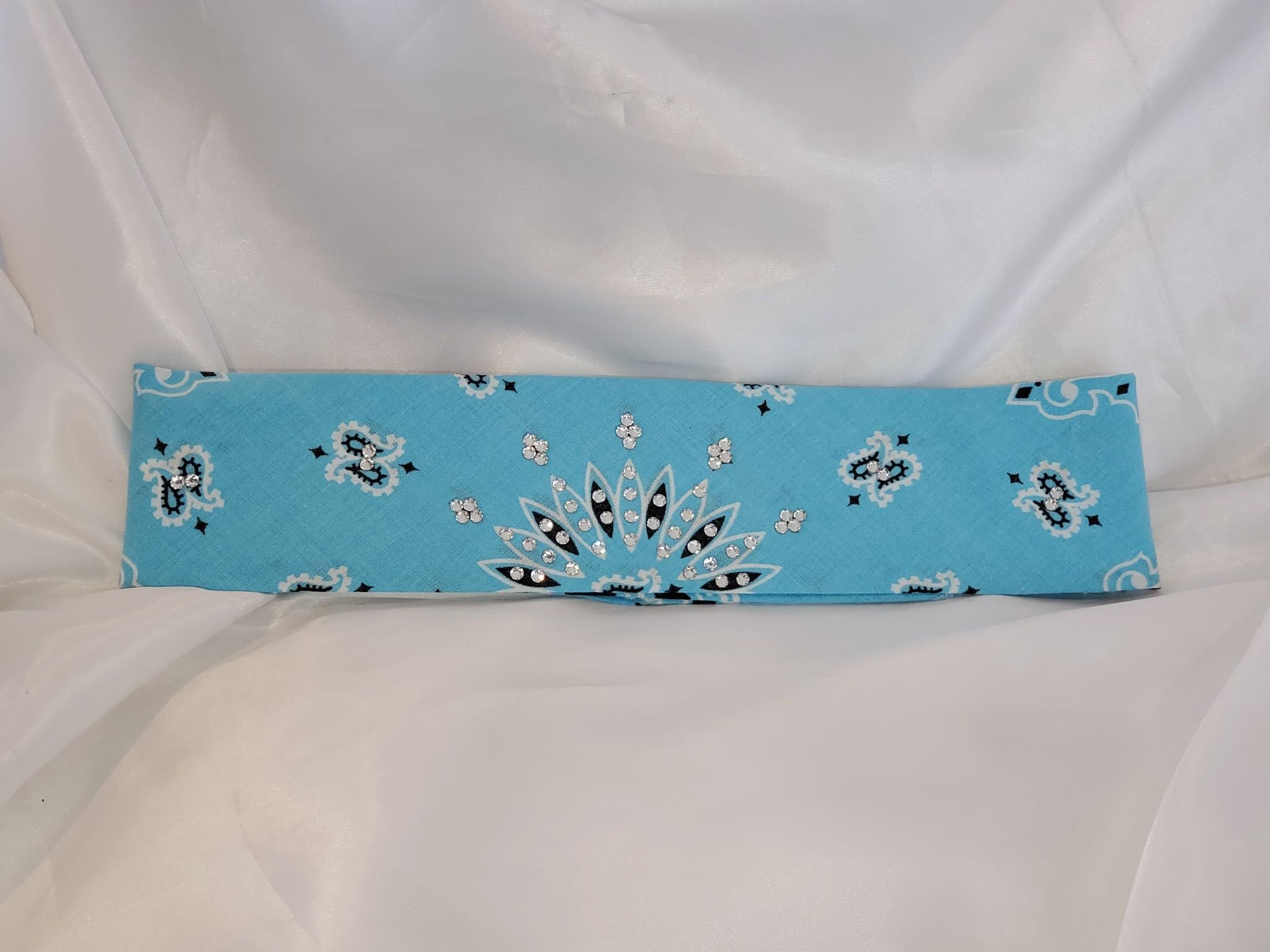 Bargain Bandana Narrow Baby Blue with Diamond Clear Crystals (Sku8035)