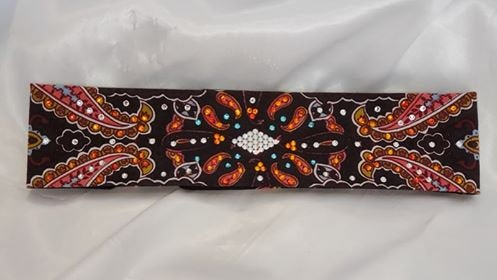 Narrow Coral Indian with Orange, Turquoise and Diamond Clear Swarovski Crystals (Sku1411)