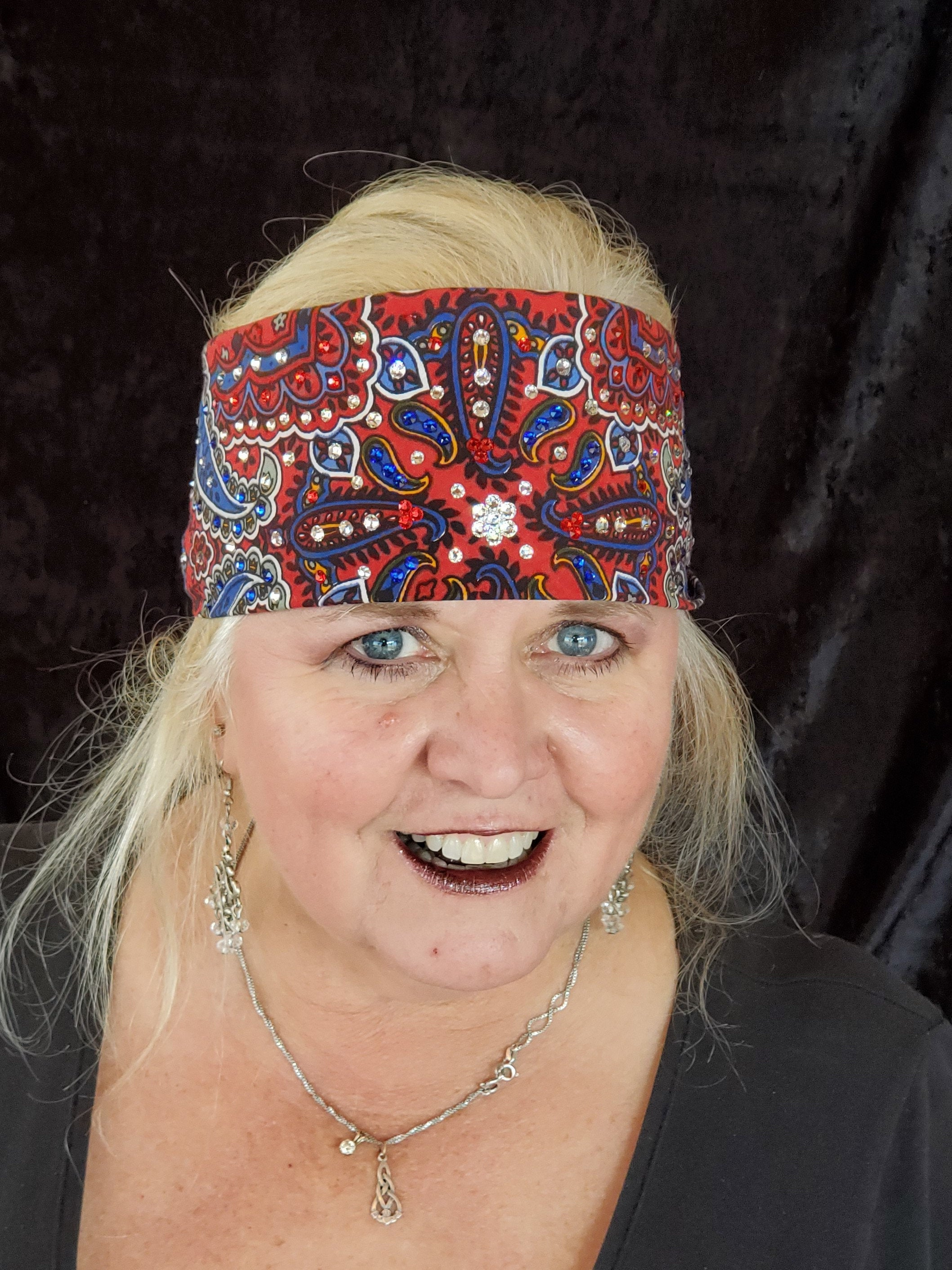 Red Indian Bandana with Clear, Blue and Red Crystals (Sku1200)