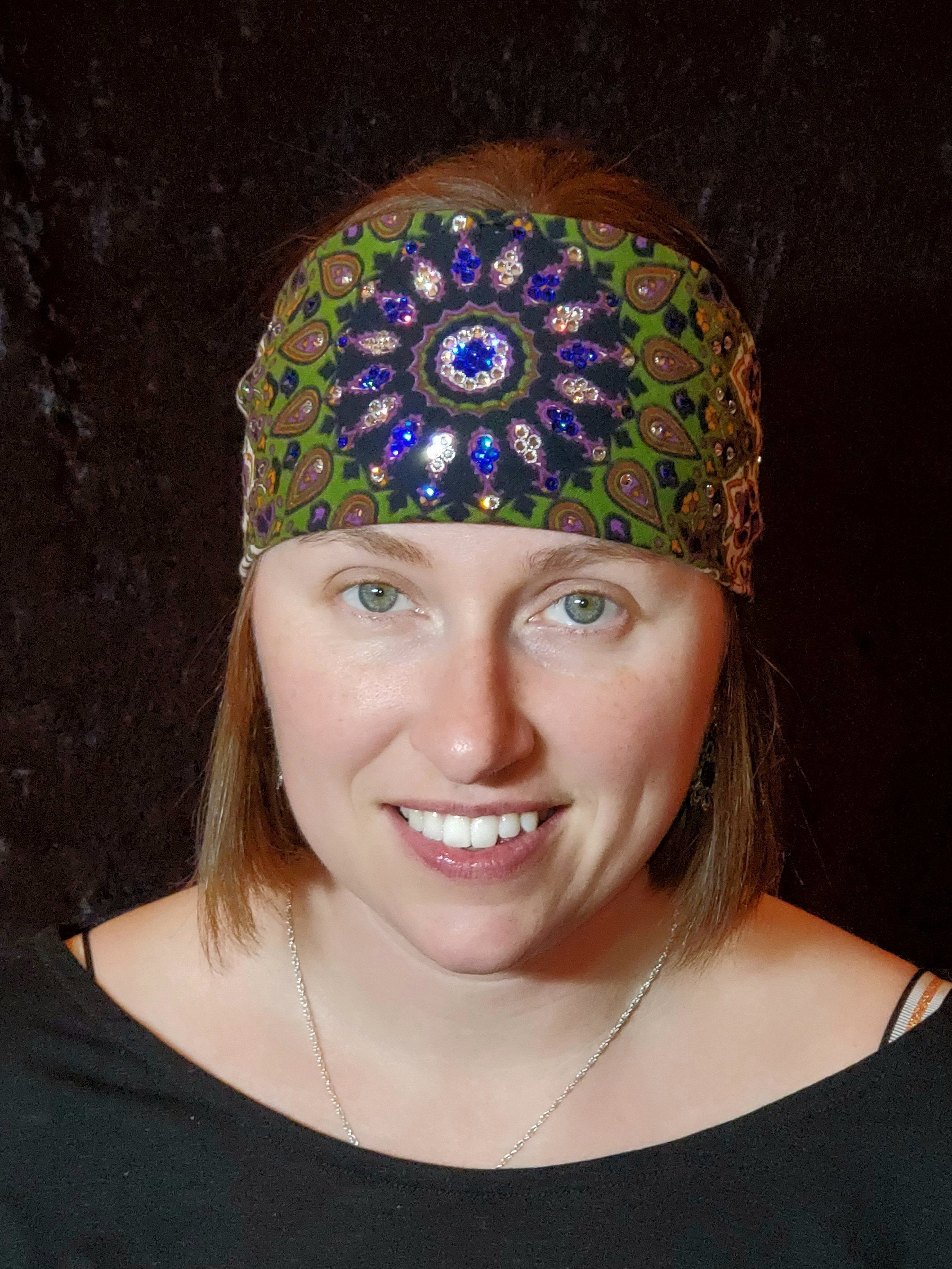 Green Indian with Blue and Diamond Clear Swarovski Crystals (Sku1304)
