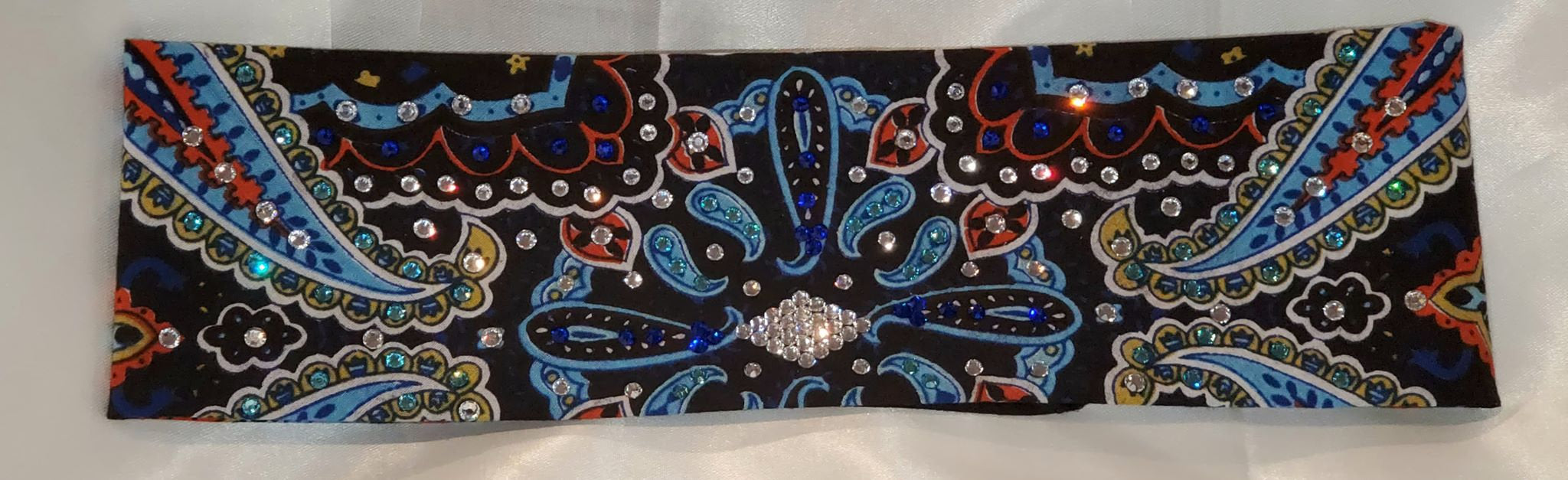 Blue Indian Design Bandana with Blue, Turquoise and Diamond Clear Swarovski Crystals (Sku1205)