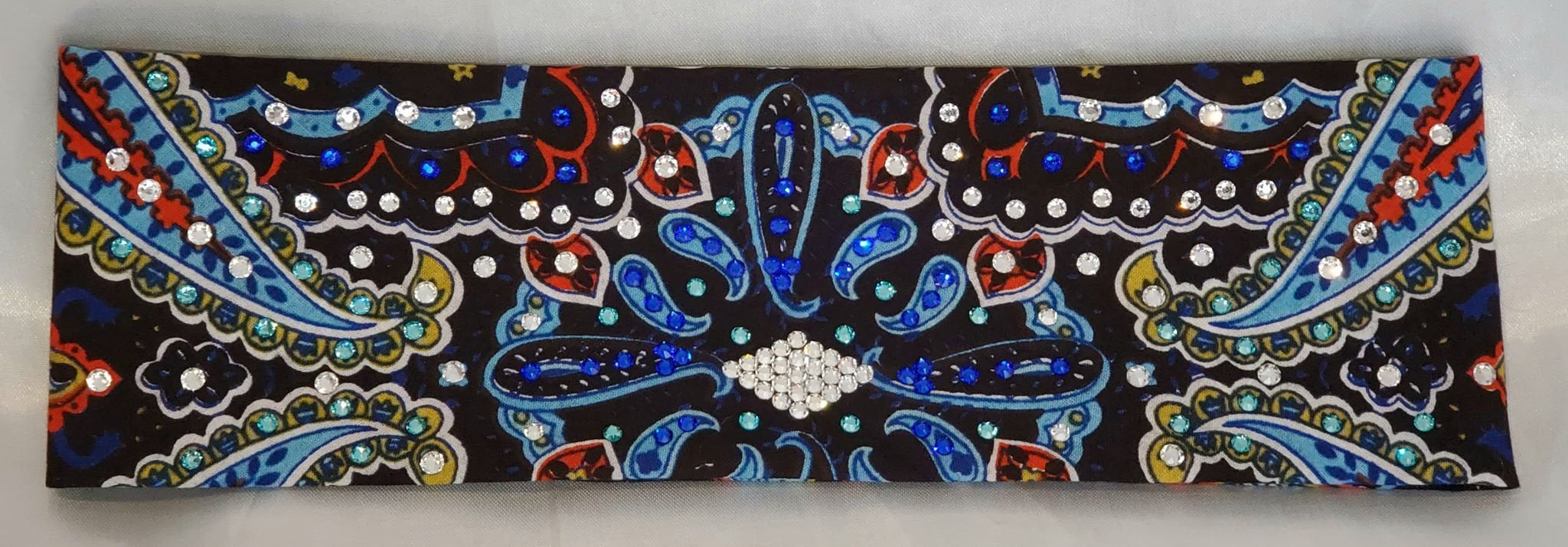 Blue Indian Design Bandana with Blue, Turquoise and Diamond Clear Swarovski Crystals (Sku1406)