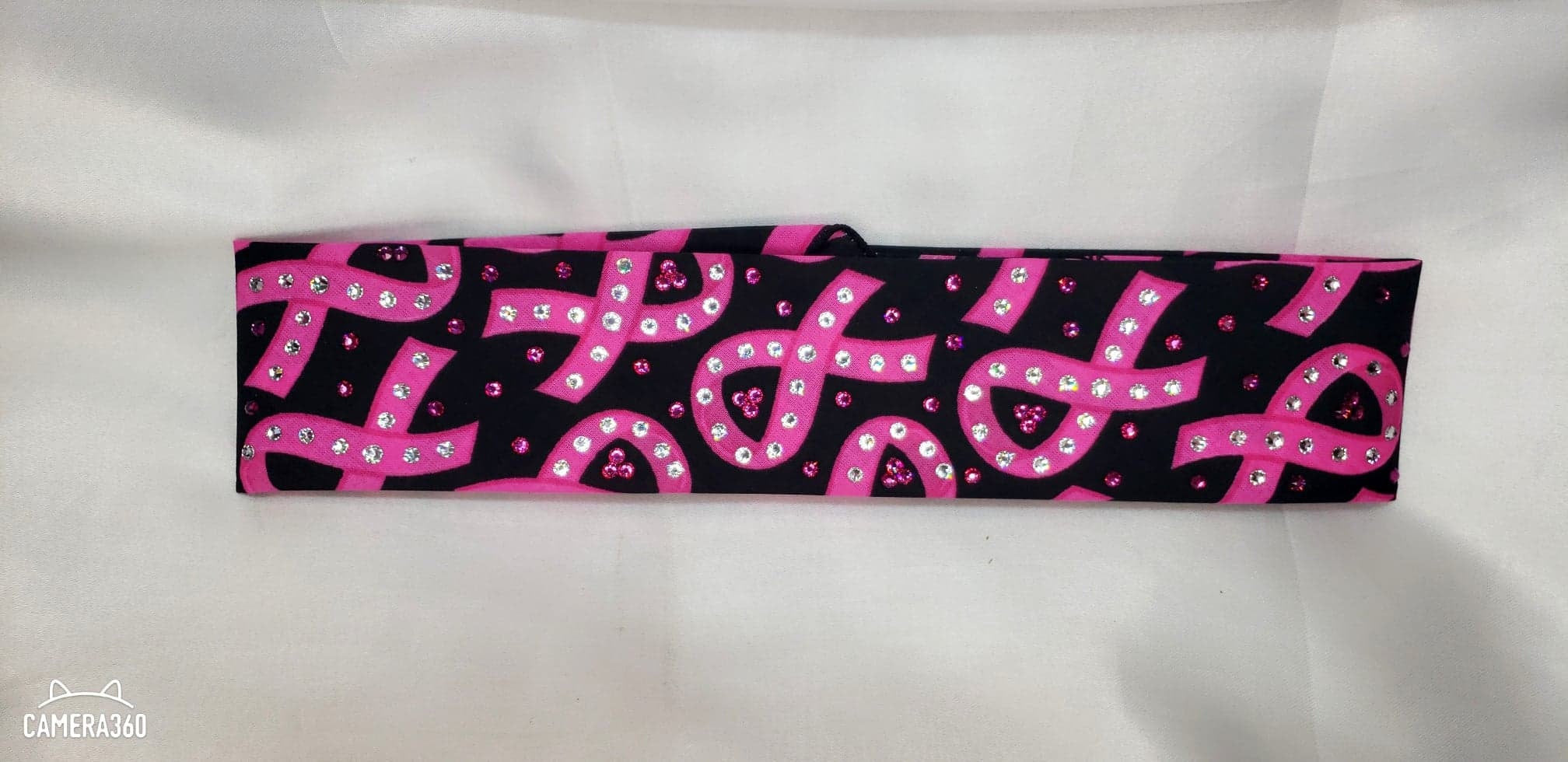 Narrow Black and Pink Breast Cancer with Pink and Diamond Clear Swarovski Crystals (Sku1423)