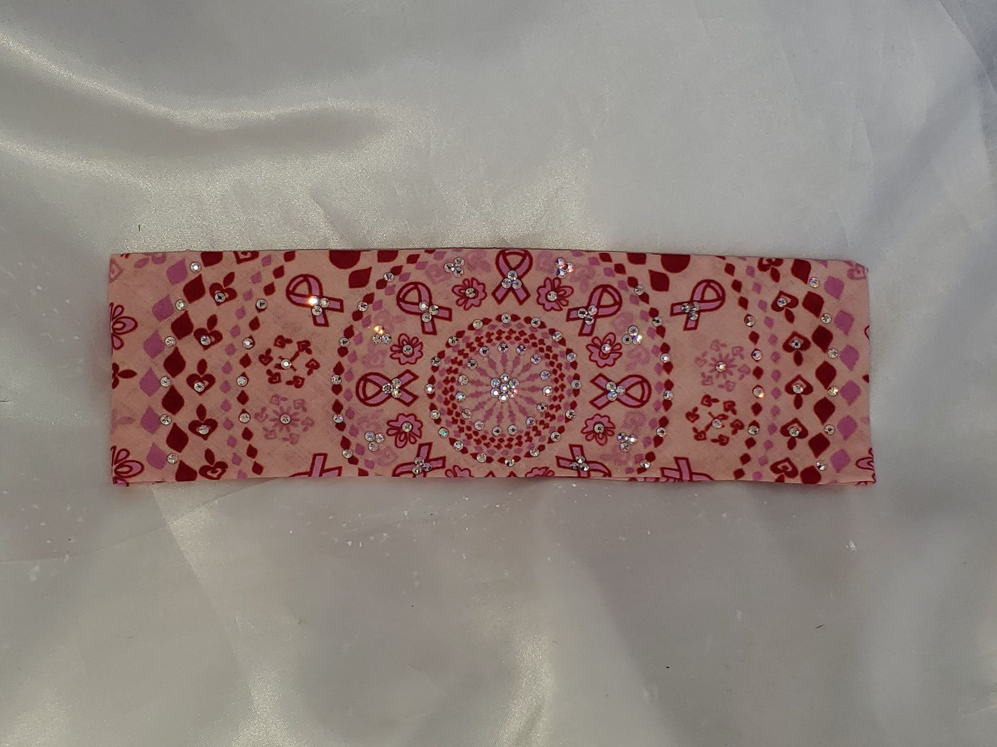 Pink breast cancer bandana With Aurora borealis Swarovski Crystals (Sku1420)