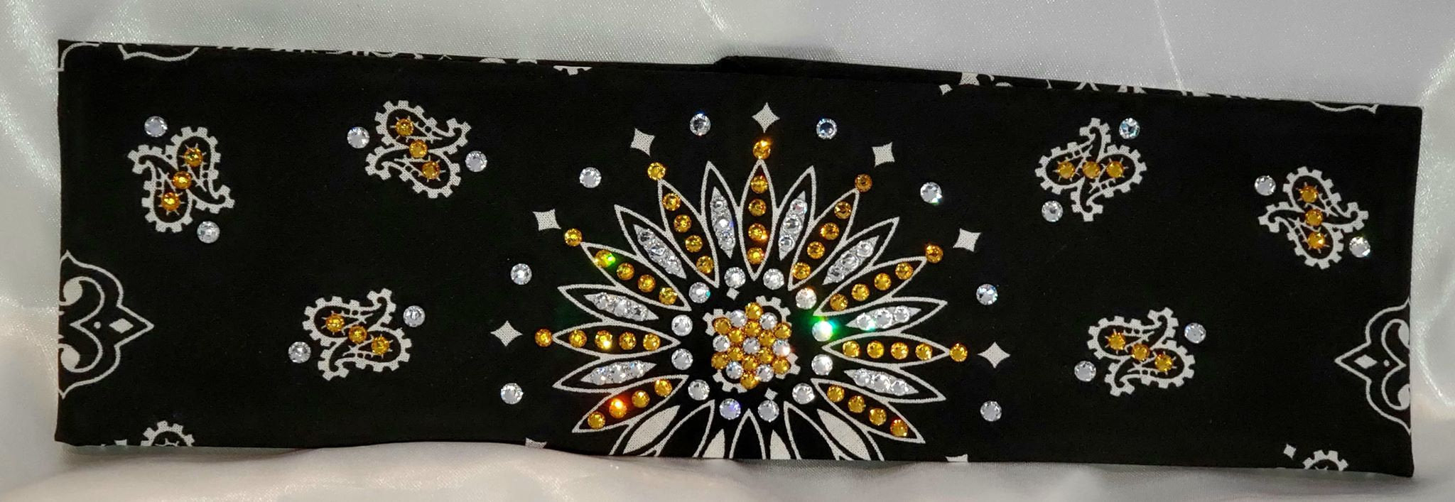 Black Paisley With Yellow and Diamond Clear Swarovski Crystals (Sku1936)