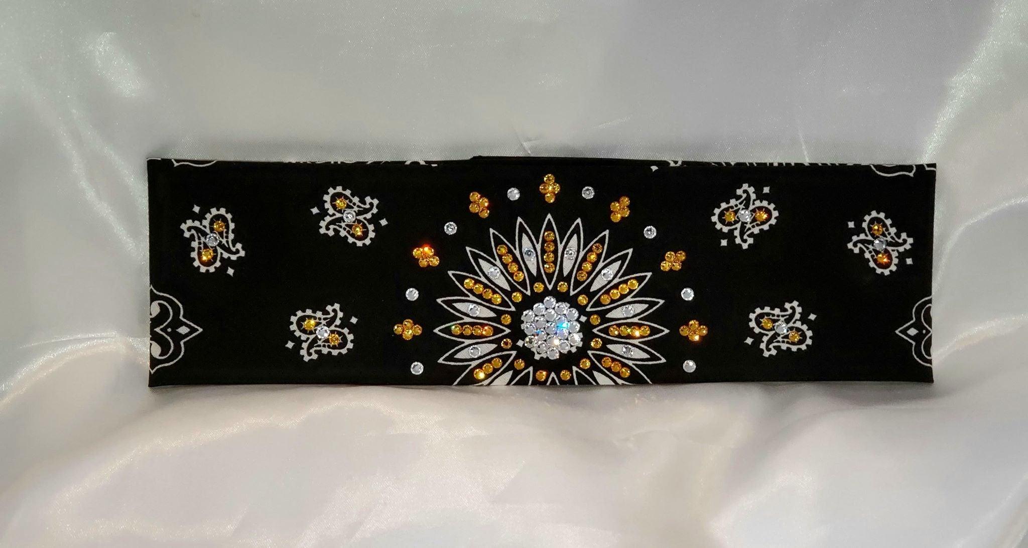 Black Paisley With Yellow and Diamond Clear Swarovski Crystals (Sku1942)