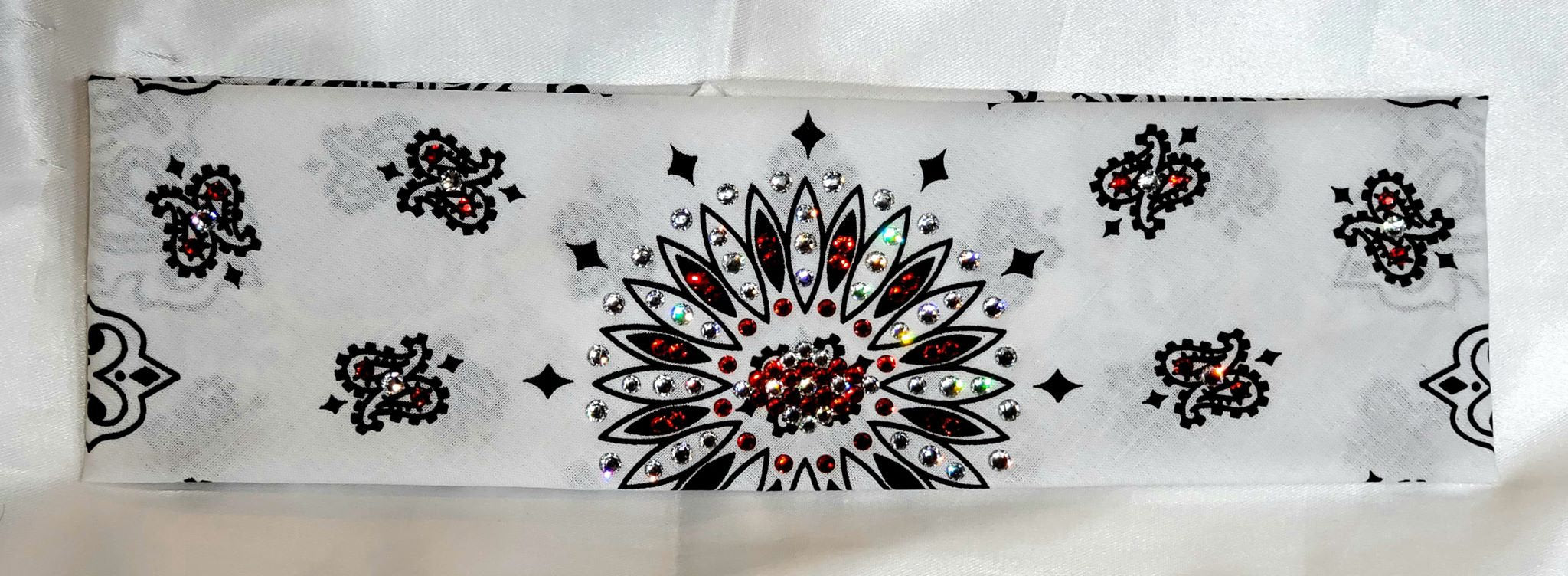 White Paisley with Red and Diamond Clear Swarovski Crystals (Sku2002)