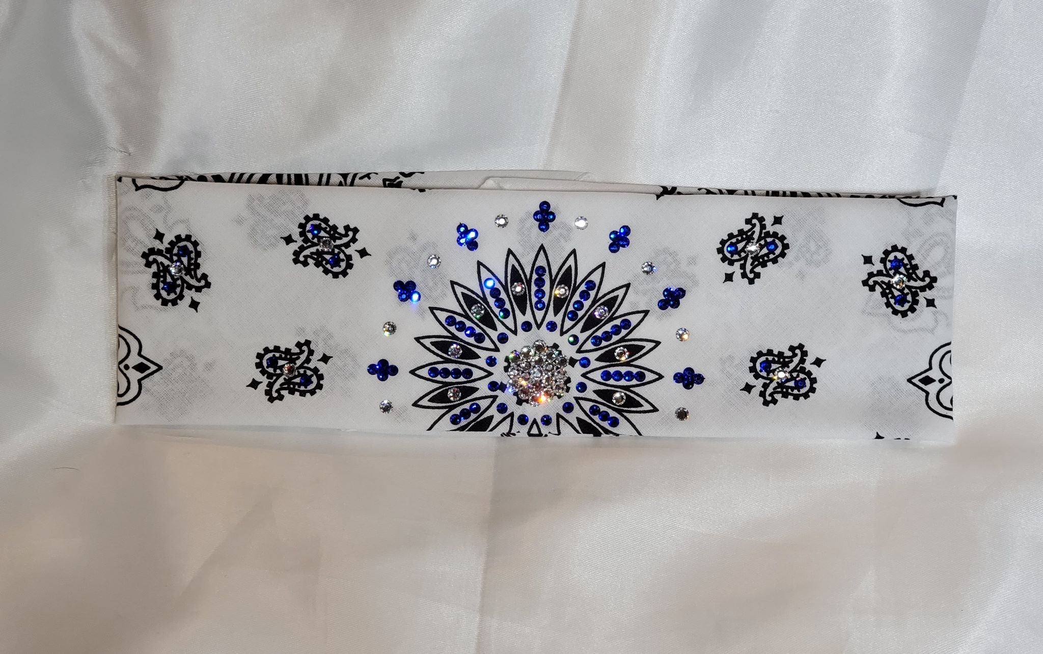 White Paisley with Blue and Diamond Clear Swarovski  Crystals (Sku2024)