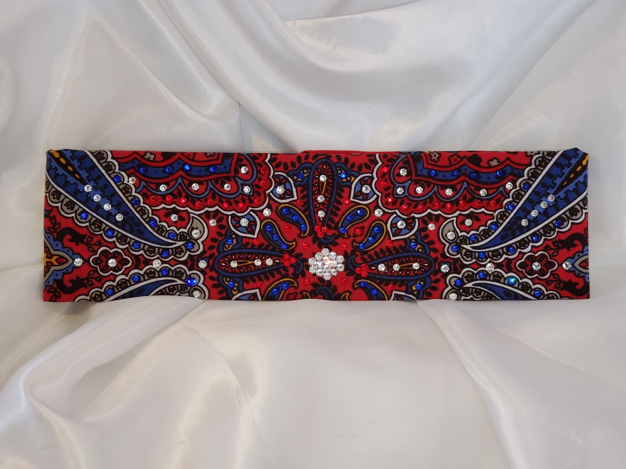 Red Indian Style Bandana with Red, Blue and Diamond Clear Swarovski crystals (Sku1407)