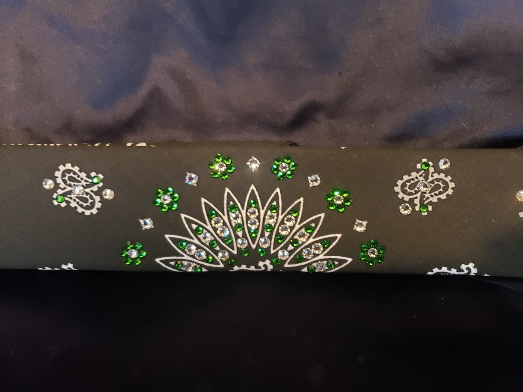 Narrow Black Paisley with Dark Green and Diamond Clear Swarovski Crystals (Sku2077)