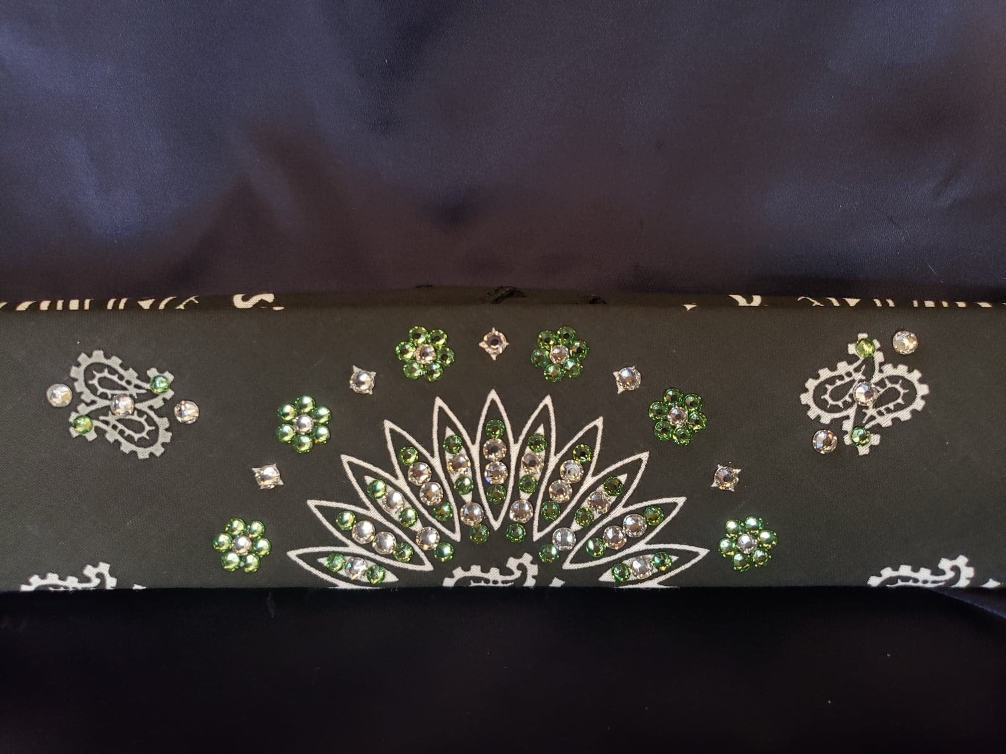 Narrow Black Paisley with Light Green and Diamond Clear Swarovski Crystals (Sku2080)