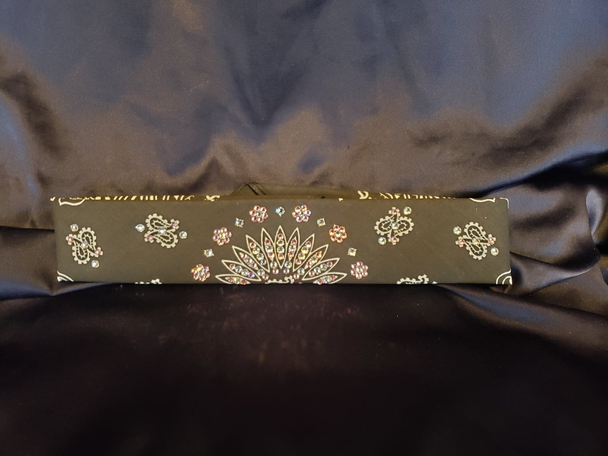 Narrow Black Paisley with Light Pink and Diamond Clear Swarovski Crystals (Sku2086)