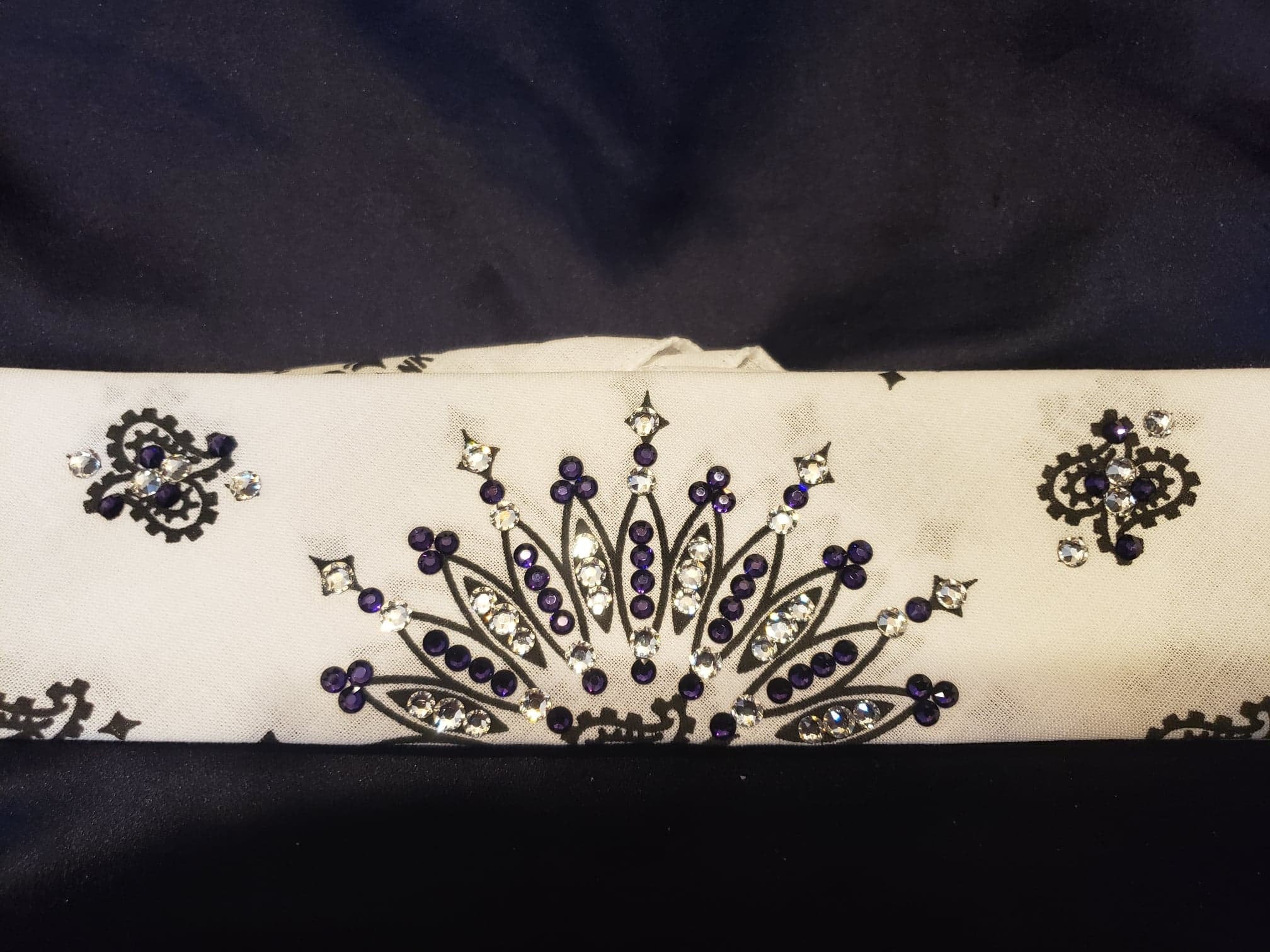Narrow White Paisley with Dark Purple and Diamond Clear Swarovski Crystals (Sku2036)