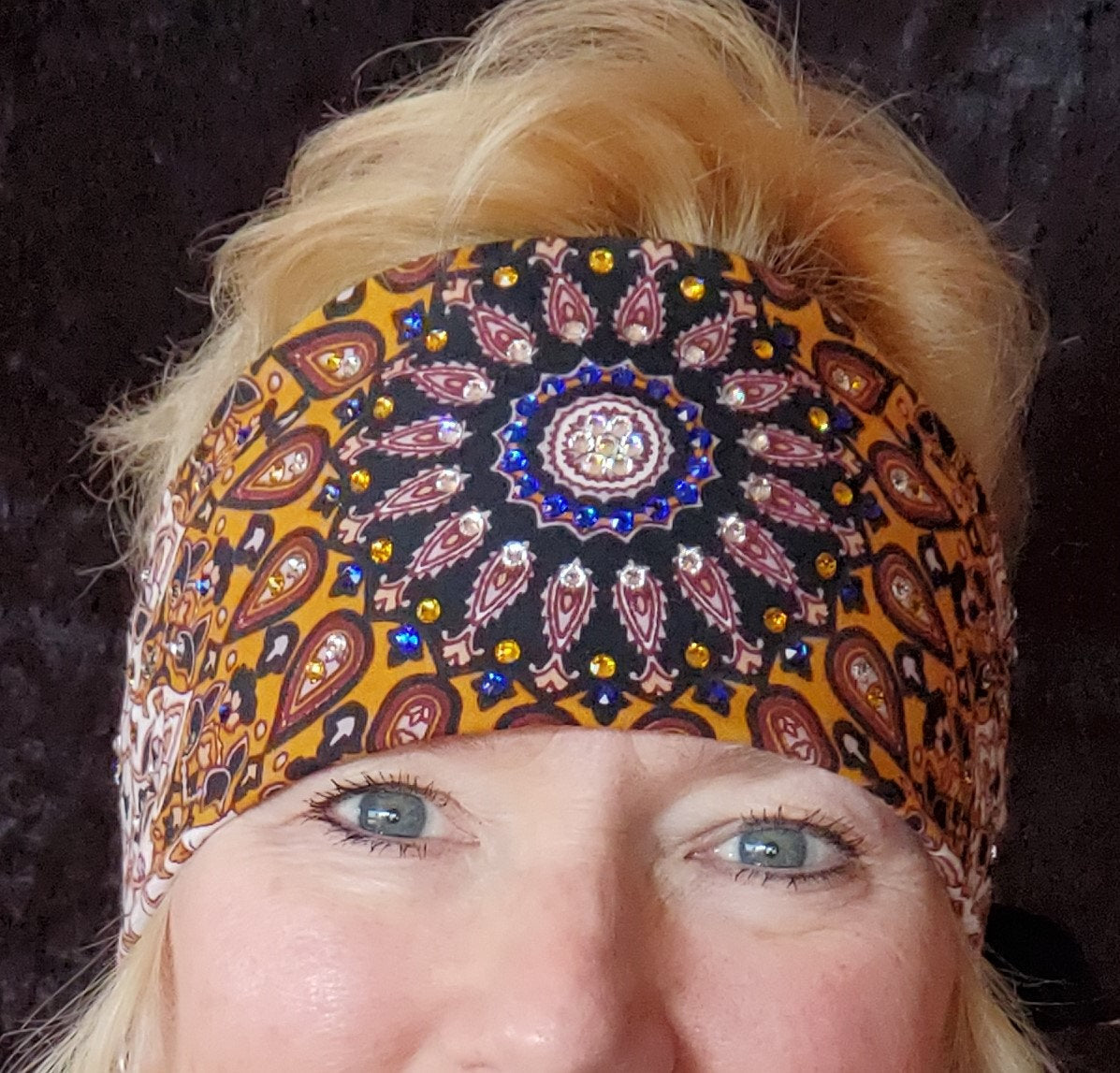 Mustard Indian with Blue, Yellow and Diamond Clear Swarovski Crystals (Sku1305)