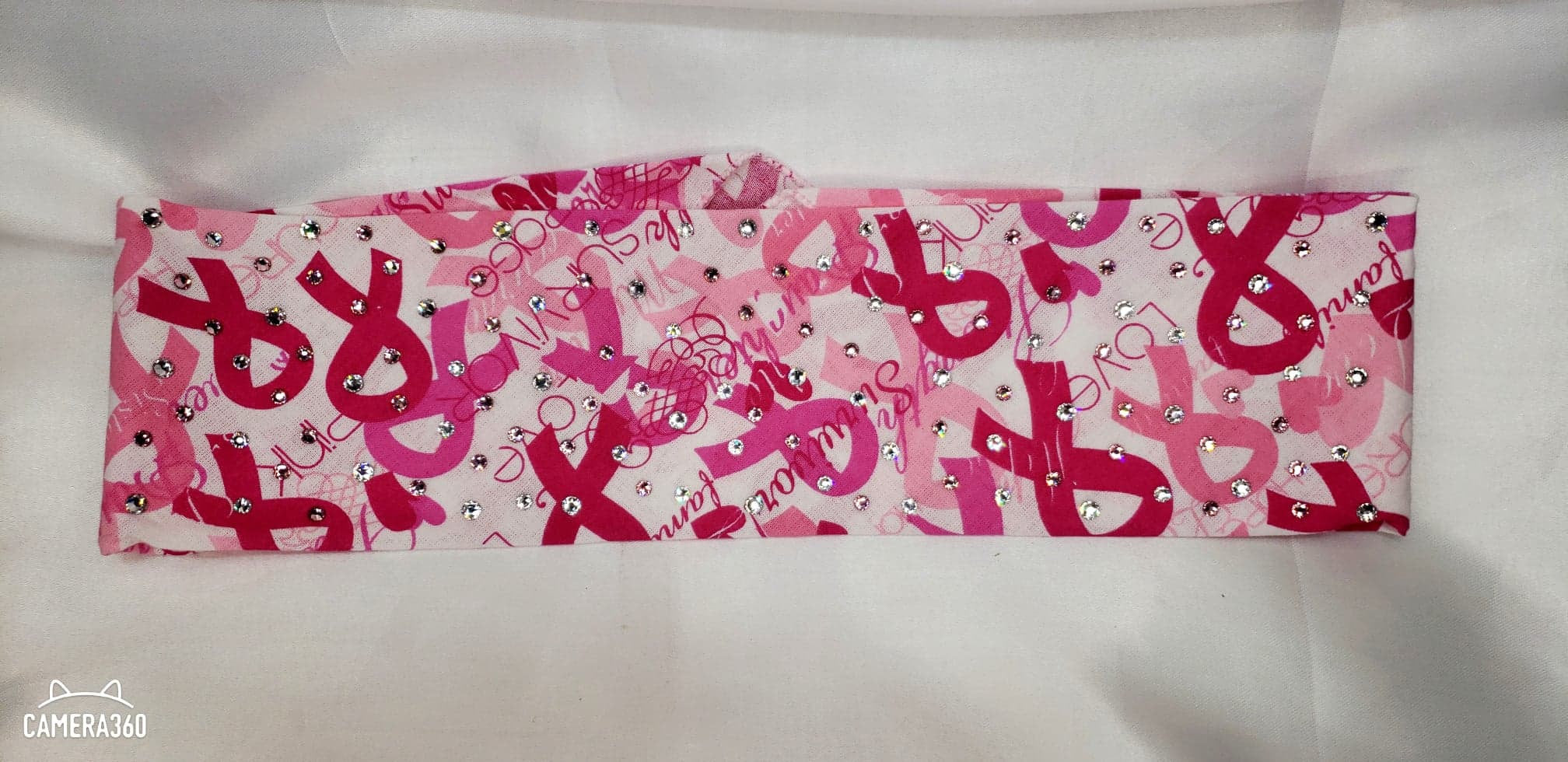 Breast Cancer Bandana with Light Pink and Diamond Clear Swarovski Crystals (Sku1426)