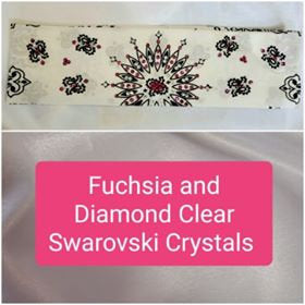 White Paisley with Fuchsia and Diamond Clear Swarovski Crystals (Sku2019)
