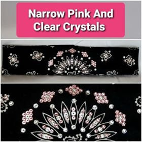 Narrow Black Paisley with Light Pink and Diamond Clear Swarovski Crystals (Sku2085)