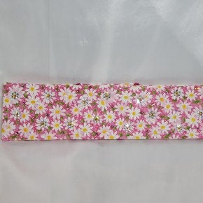 Pink and yellow daisy bandana with pink and clear Swarovski crystals (Sku1105)