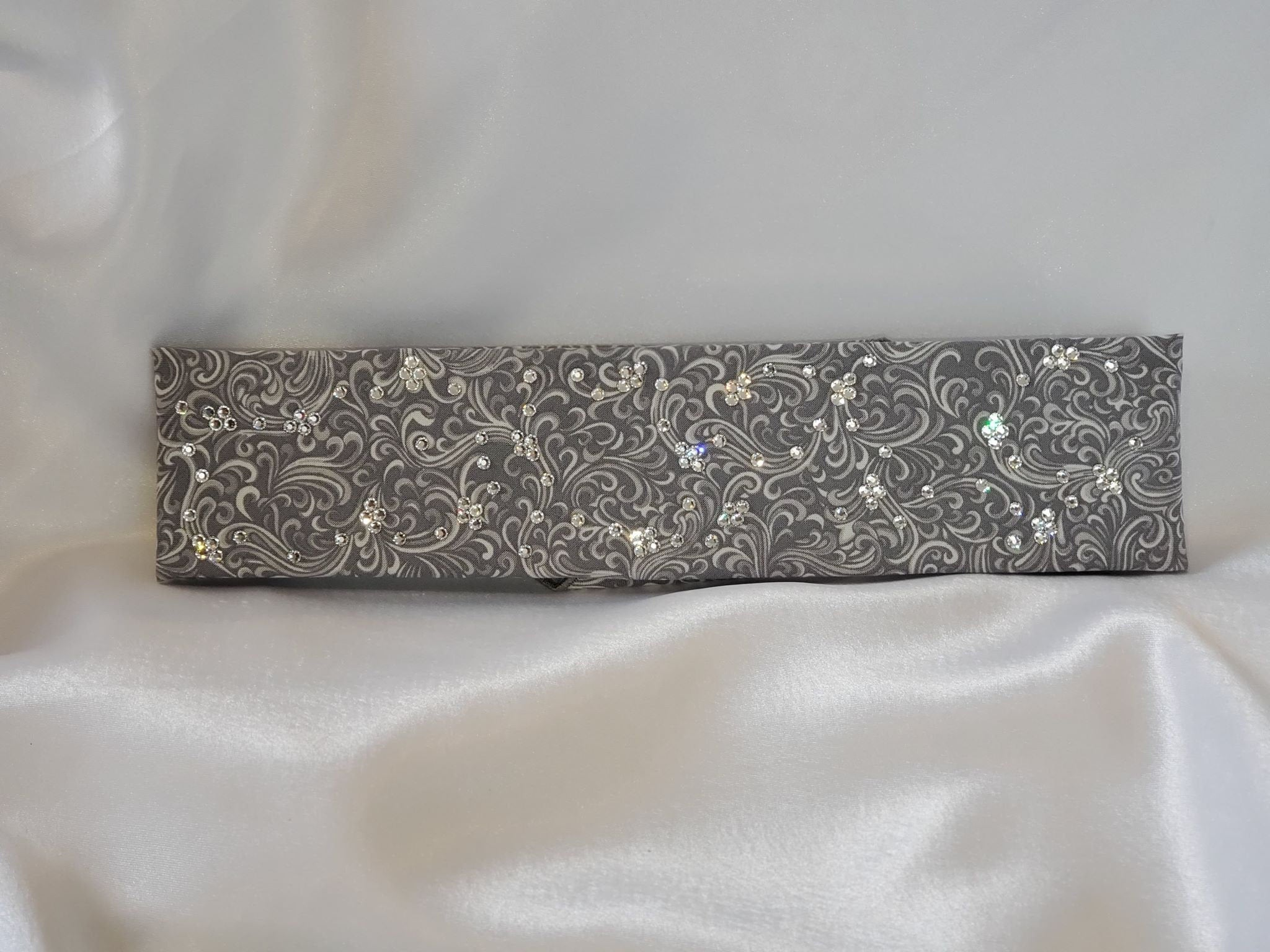 Narrow Gray Scroll with Diamond Clear Swarovski Crystals (Sku1830)