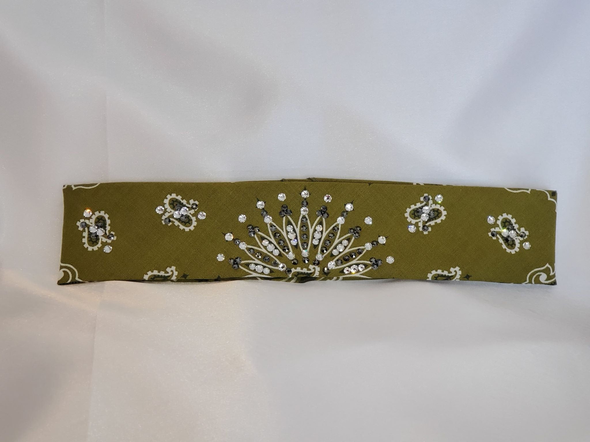 Narrow Olive Green Paisley With Jet Black Hematite and Diamond Clear Swarovski Crystals (Sku2175)