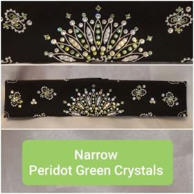 Narrow Black Paisley with Peridot Green and Diamond Clear Swarovski Crystals (Sku2079)