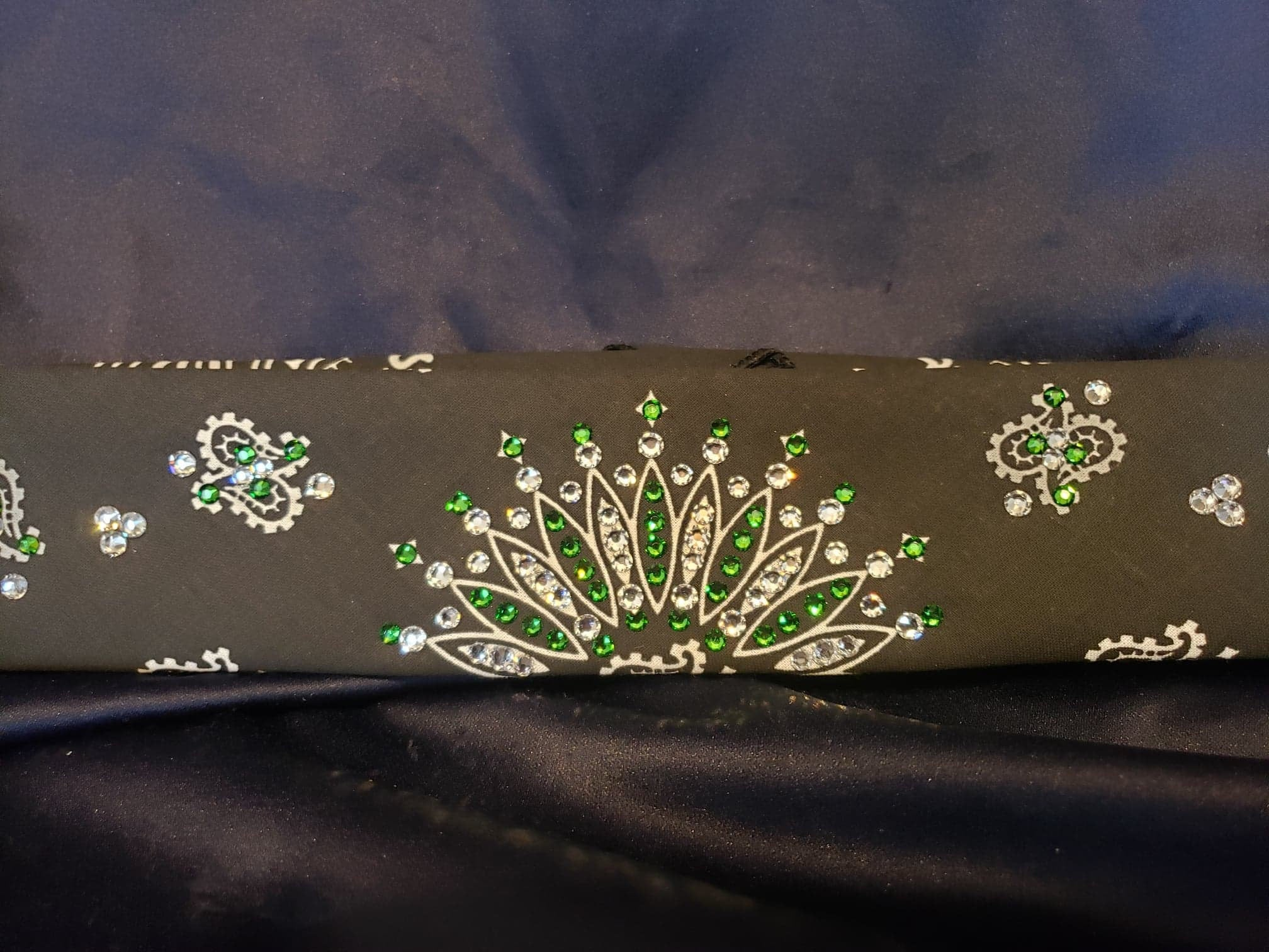 Narrow Black Paisley with Dark Green and Diamond Clear Swarovski Crystals (Sku2078)