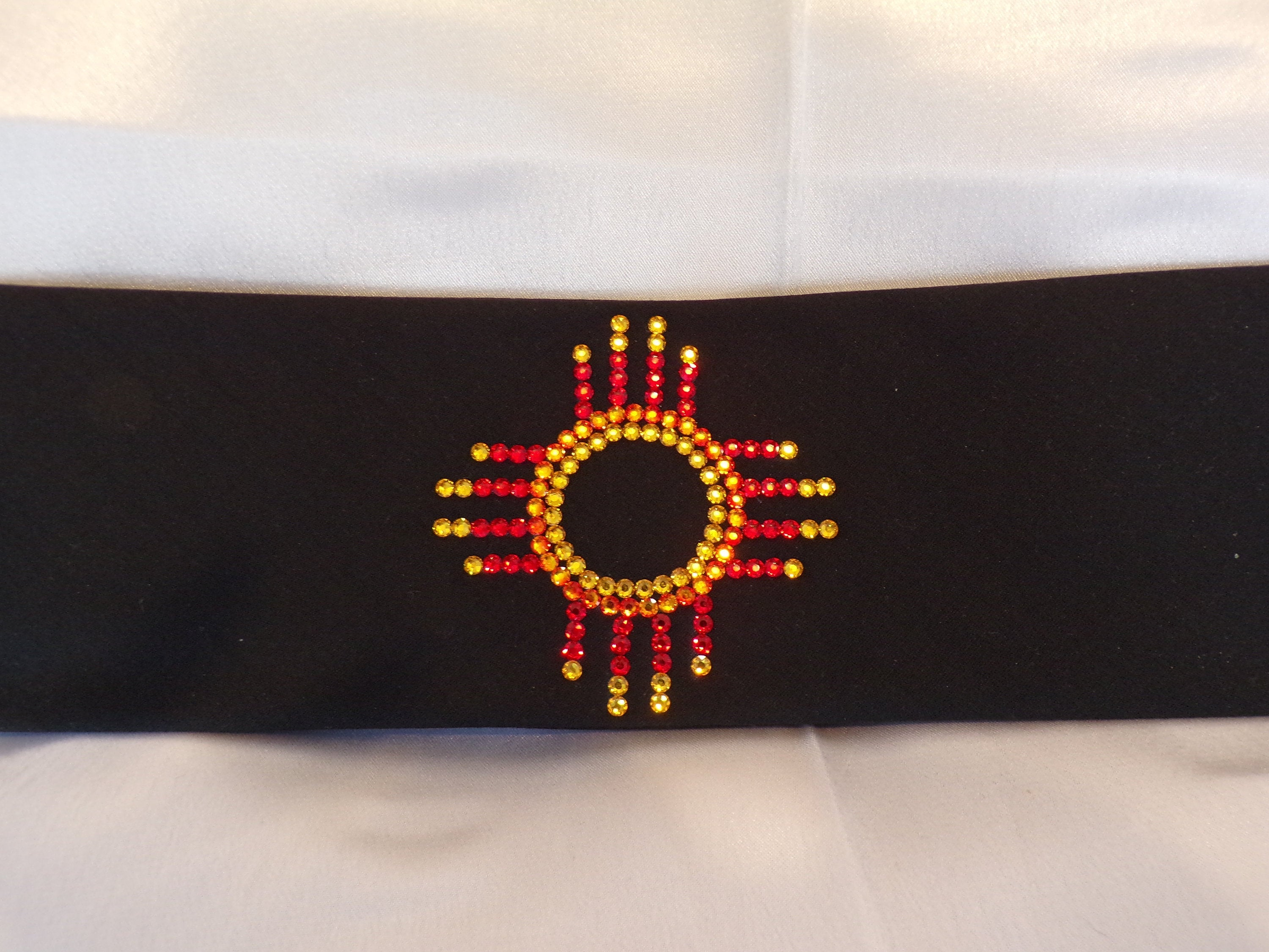 Zia on Black with Red and Yellow Swarovski Crystals (Sku9712)