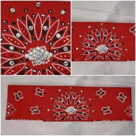 Red Paisley with Red, Black and Diamond Clear Swarovski Crystals (Sku2100)