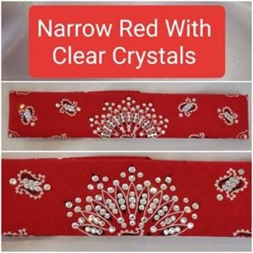 Narrow Red Paisley with Diamond Clear Swarovski Crystals (Sku2103)