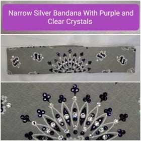 Narrow Silver Paisley with Dark Purple and Diamond Clear Swarovski Crystals (Sku2111)