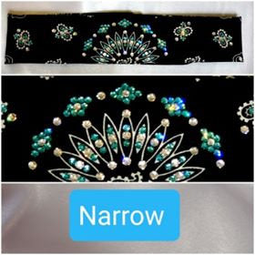 Narrow Black Paisley with Turquoise and Diamond Clear Swarovski Crystals (Sku2088)