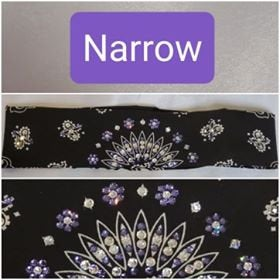 Narrow Black Paisley with Light Purple and Diamond Clear Swarovski Crystals (Sku2075)