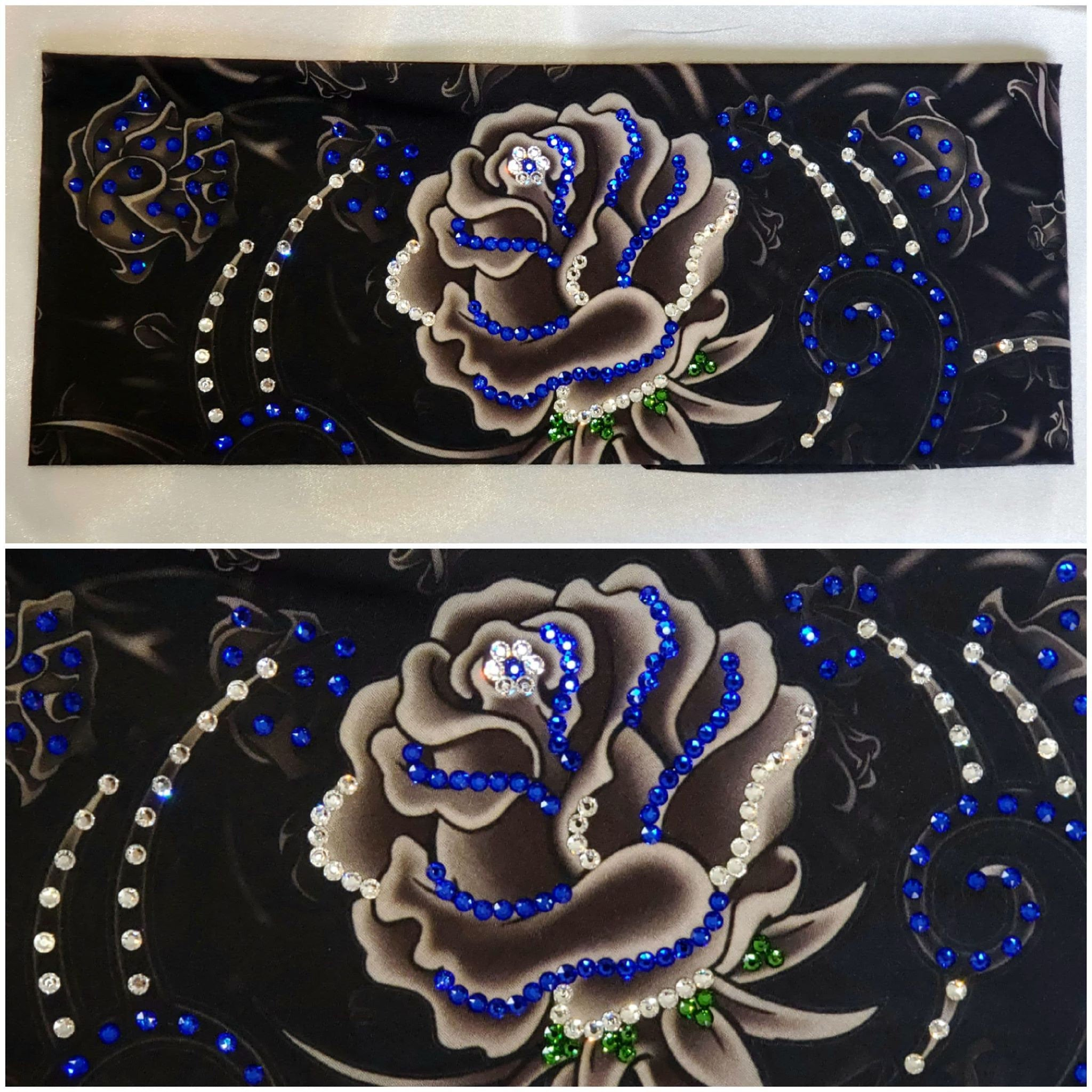 Large Grey Rose with Blue, Green and Diamond Clear Swarovski Crystals (Sku9024)