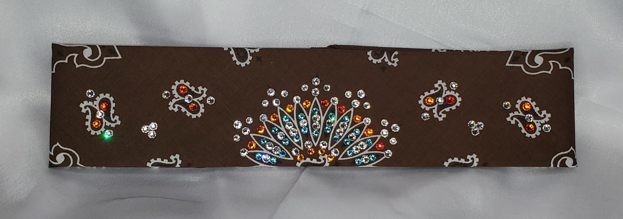 Narrow Brown Paisley with Turquoise, Orange and Diamond Clear Swarovski Crystals (Sku2126)