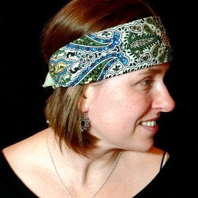 Narrow Mint Green Indian Bandana (Sku1085)