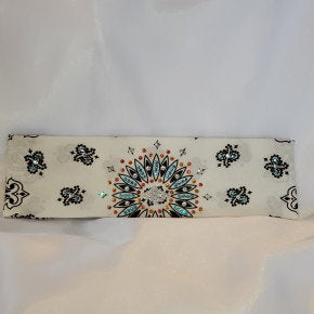 White Paisley with Turquoise, Orange and Diamond Clear Swarovski Crystals (Sku2016)