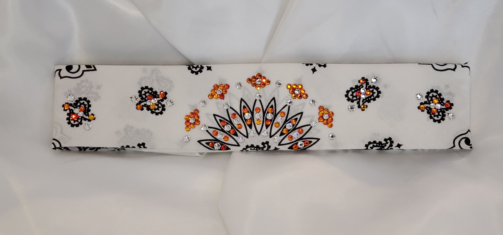 Narrow White Paisley with Orange and Diamond Clear Swarovski Crystals (Sku2035)