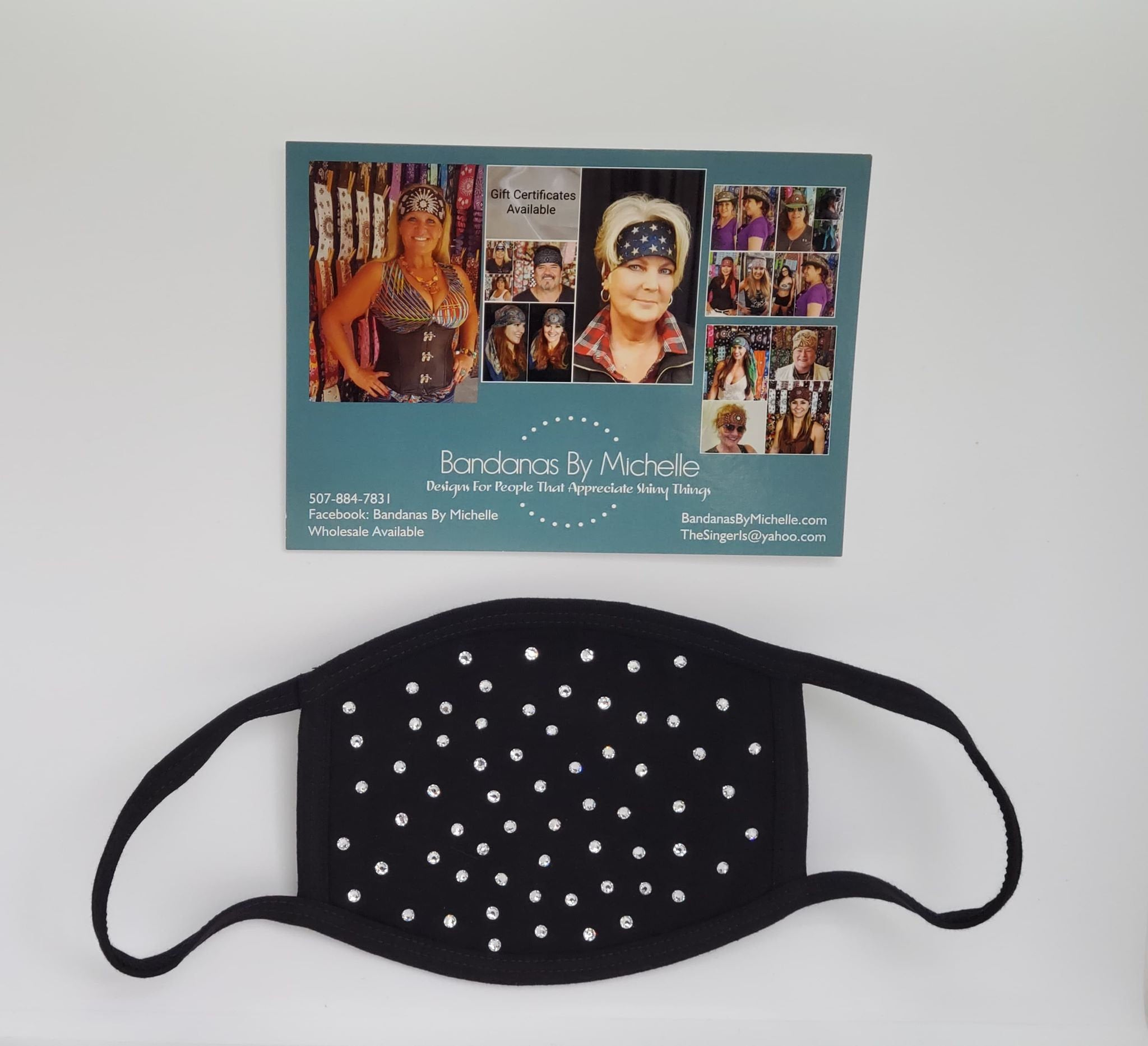 Black Face Mask with Diamond Clear Swarovski Crystals (Sku5918)