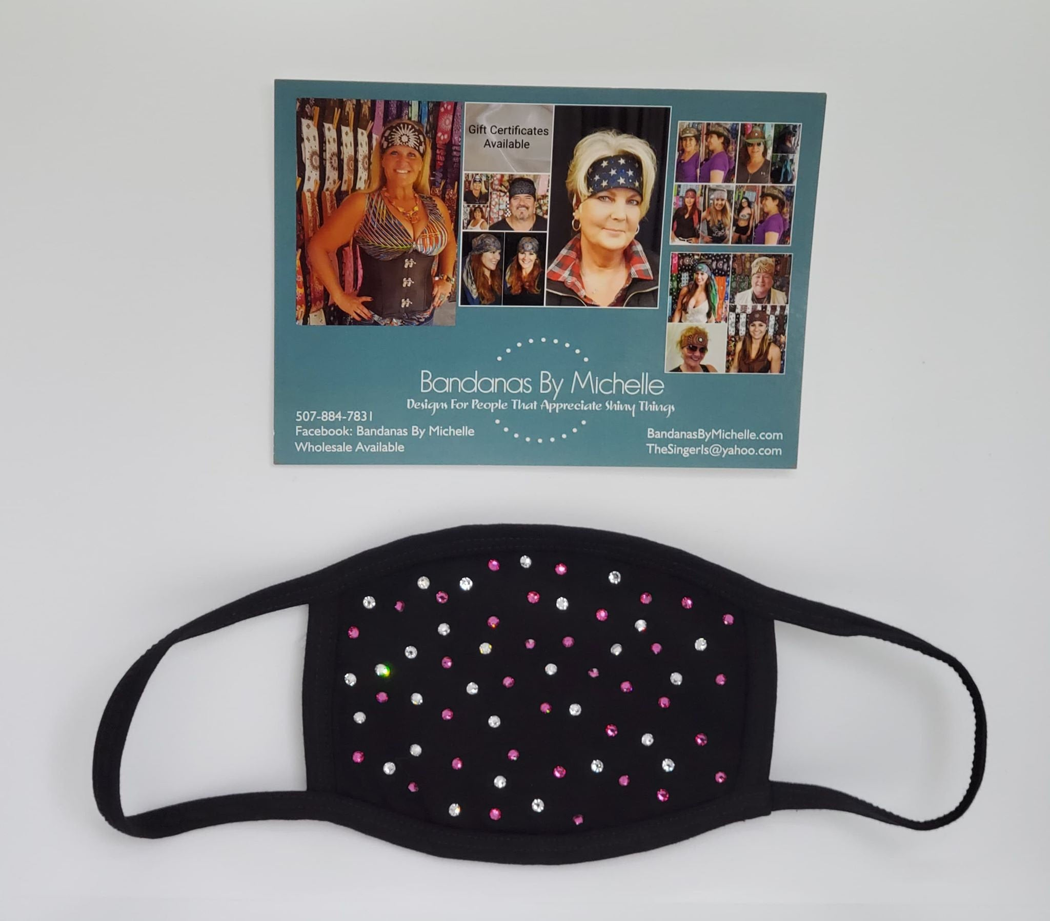 Black Face Mask with Fuchsia and Diamond Clear Swarovski Crystals (Sku5919)