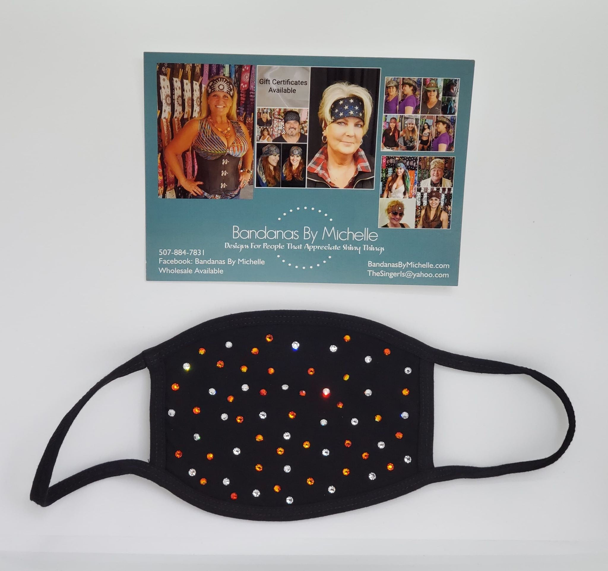 Black Face Mask with Orange and Diamond Clear Swarovski Crystals (Sku5923)
