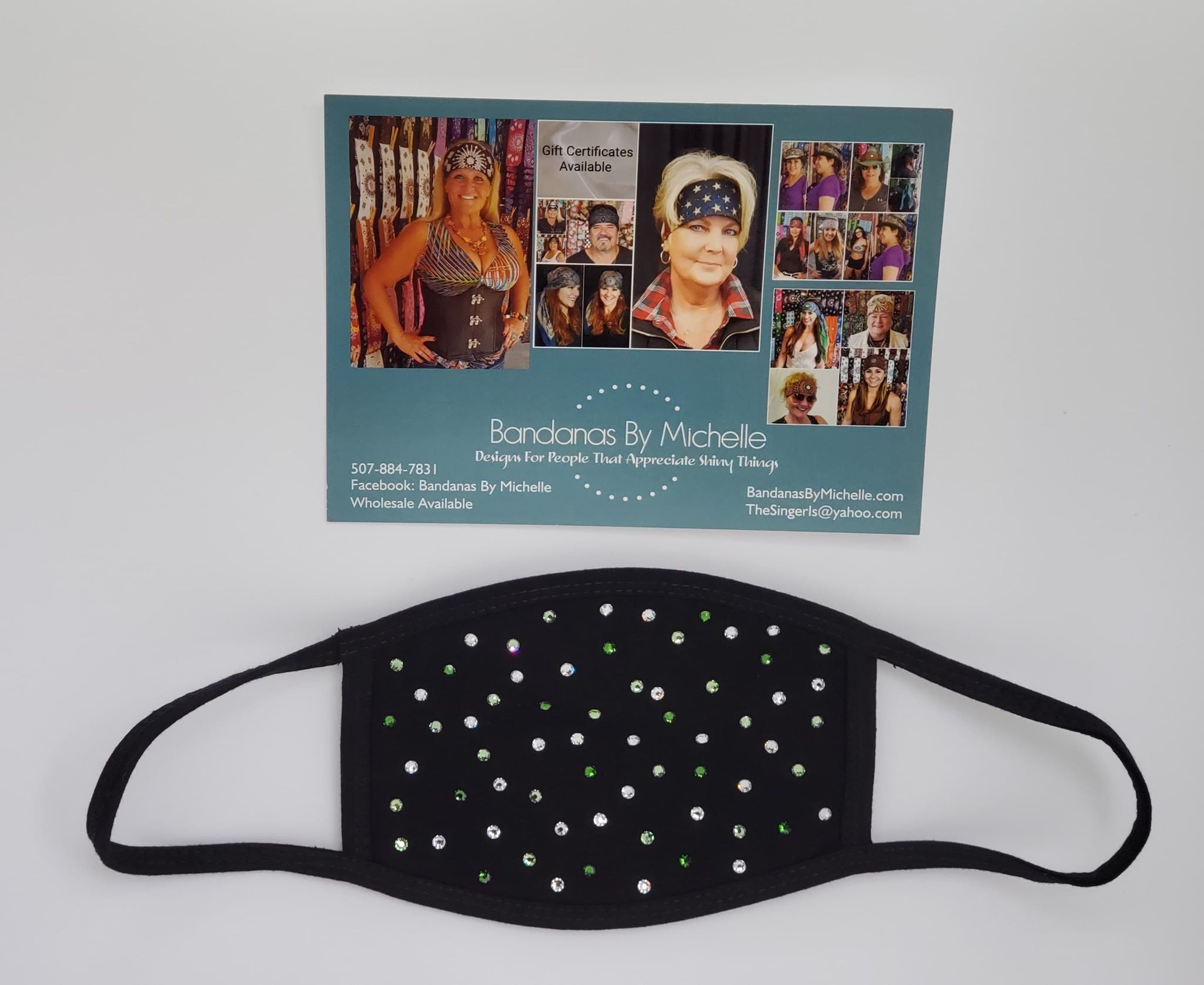 Black Face Mask with Light Green, Dark Green and Diamond Clear Swarovski Crystals (Sku5922)