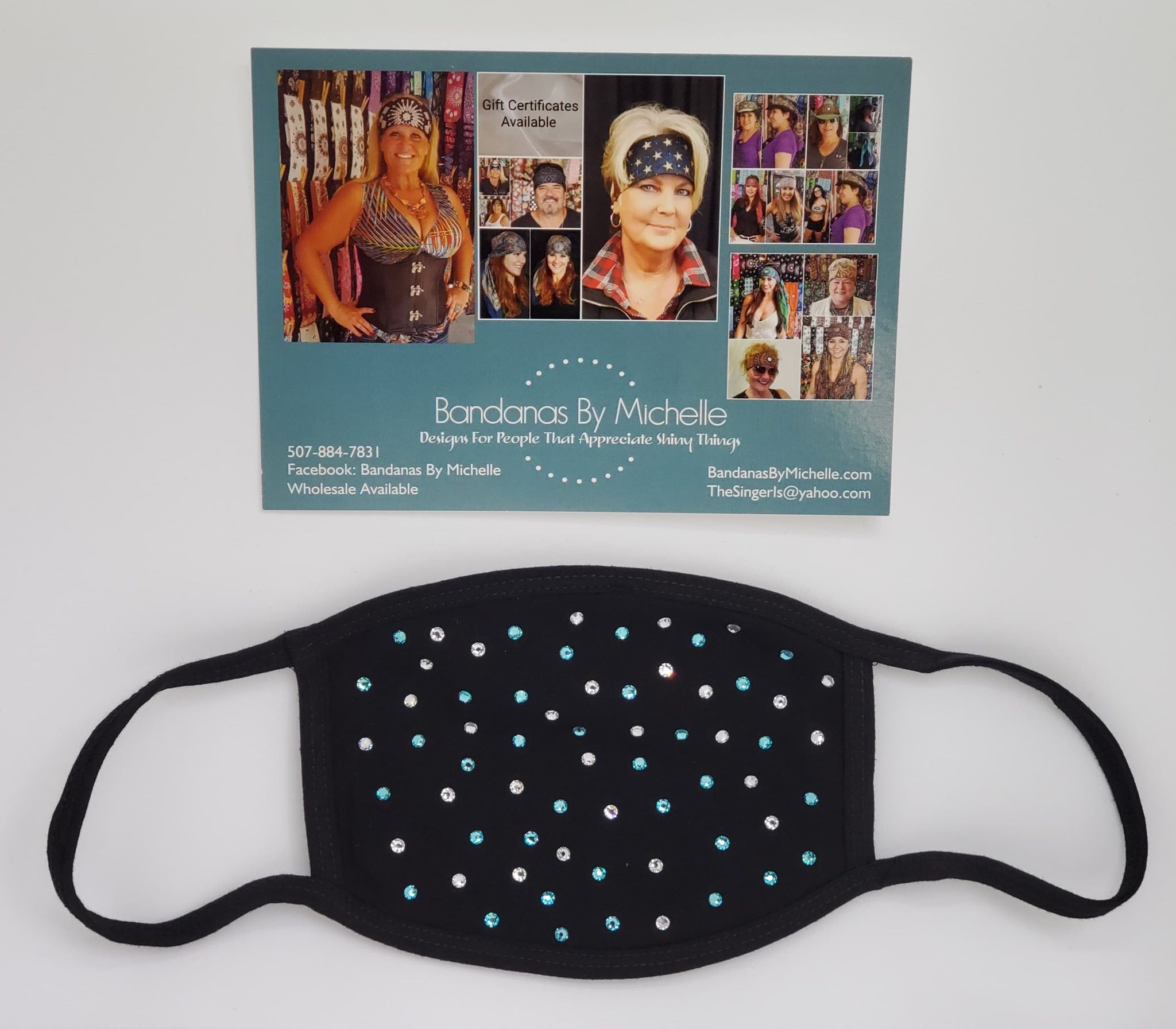 Black Face Mask with Turquoise and Diamond Clear Swarovski Crystals (Sku5924)
