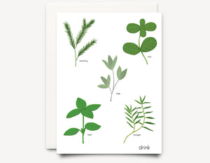Herbs (drink)  Greeting Card - Edith May Designs