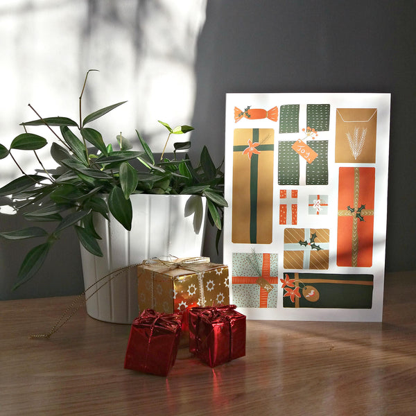 Mid Century Christmas Gifts Holiday Card - Modern Christmas Gifts Card For Friend - Edith May Designs